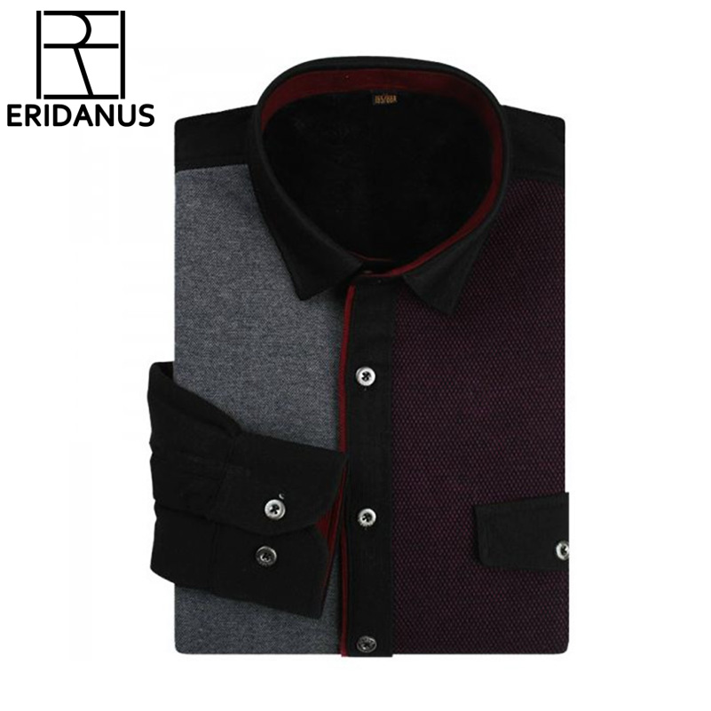 Top Quality 2017 Men Winter Warm Shirt New Design Casual Patchwork Warm thicken long-sleeved Mens dress shirts M615 ...