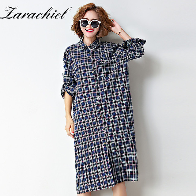 167be5080bf Zarachiel Autumn Women Wing Embroidery Plaid Shirt Dress Casual Button Down  Open Slit Long Sleeve Pocket Loose Dresses Plus Size