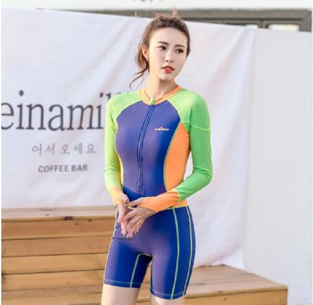 Surfing Swimwear Snorkeling Beach Long Sleeve Shorts Diving Suit Rashguard Women