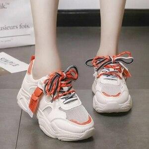 Image 3 - 2020 קיץ Pantshoes נוח לנשימה רשת מאמני שמנמן עקבים נשים פלטפורמת סניקרס נעלי אישה מזדמן נקבה נעלי W208