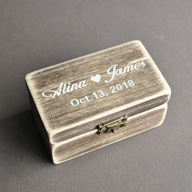 Personalised Wedding Ring Box Rustic Ring Holder Ring Boxes For