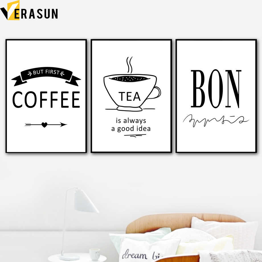 Detail feedback questions about black white tea coffee cup quotes nordic posters and prints wall art canvas painting wall pictures for living room kitchen