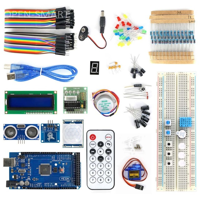 OPEN SMART MEGA2560 BreadBoard Advance Kit with Sensors / Servo Motor / LCD  Display / Tutorial for Arduino-in Industrial Computer & Accessories from