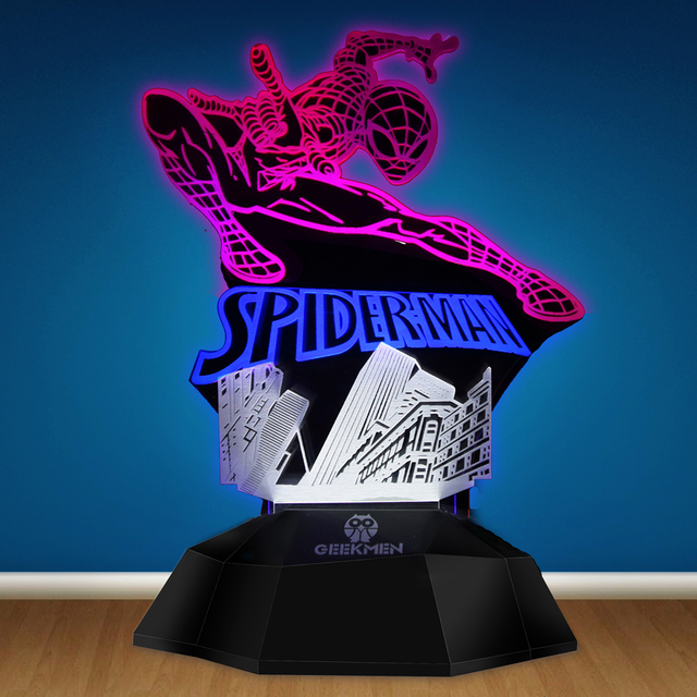 Superhero Homcoming Spider Man 3D Line Lamp Novelty Led Night Light Superhero 3D Optical Illusion Lamp Lamp Table Decorative