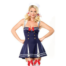 The High Quality Blue Sexy Button Sailor Cosplay Costume Backless A-Line Striped Dess With Bow For Ladies BI41