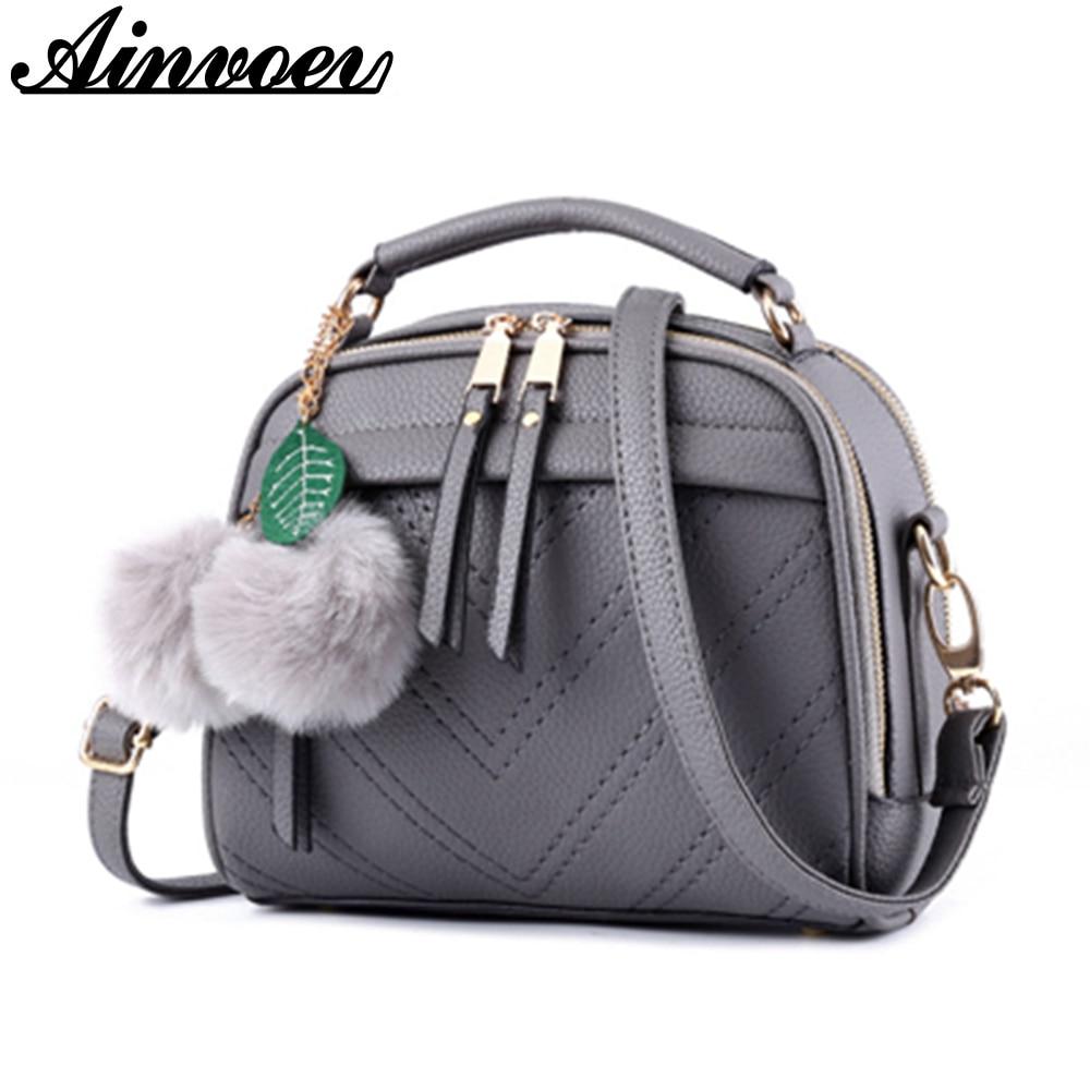 Ainvoev pu cuero mujeres Messenger bolsas doble cremallera mujeres bolsos escolares bolsas de hombro de alta calidad crossbody bolsa a1053