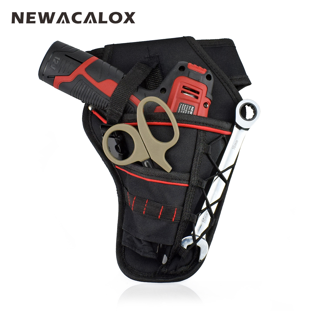 NEWACALOX Waterproof Electrician Oxford Pockets Storage Bag Hardware Tool Waist Bag for Electric Cordless Drill Holder Toolkit