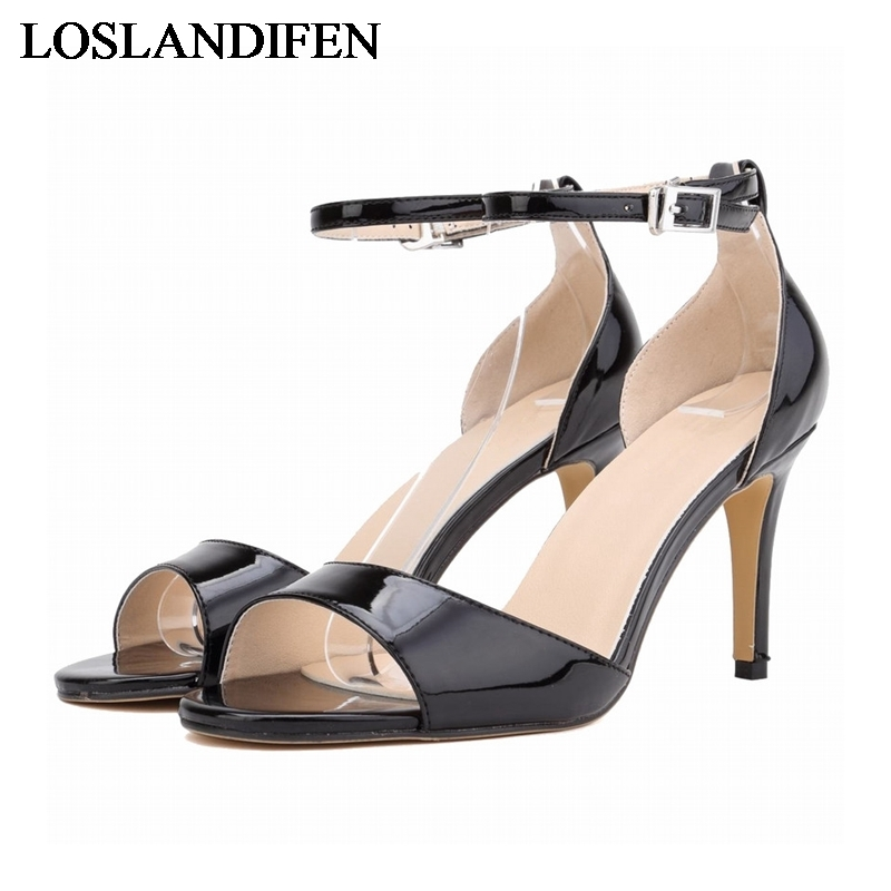 Hot-selling 2018 Sexy 8cm High-heeled Open Toe Women Sandals Brand Patent Leather Summer Shoes Sandal 13 Colors NLK-B0038 summer causal open toe buckle high heeled thick waterproof platform sandals for women
