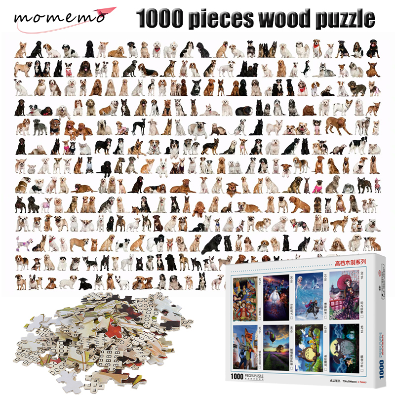 MOMEMO Kinds Of Dogs Puzzle 1000 Pieces Animal Figure Adult Puzzle 2mm Thick Wooden Puzzle For Children Educational Toys Gifts