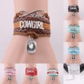 infinity love cowgirl bracelet cowboy hat charm rope leather wrap bracelets & bangles for women men jewelry drop shipping