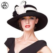 FS British Wide Brim Fedora Ladies Vintage Black White Purple Wool Church  Hats Women Elegant Bowler dff4221b4a6