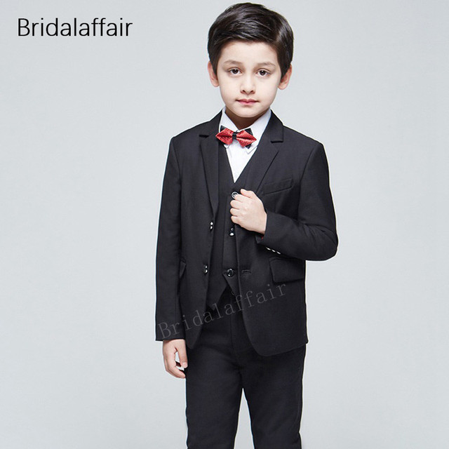 ec11b31f0d04 KUSON Custom Made Kid s Suits Prom Party Wedding Boy Tuxedo Children  Clothing Set Formal Black Suit 3Pcs 2018(Jacket+Pants+Vest)