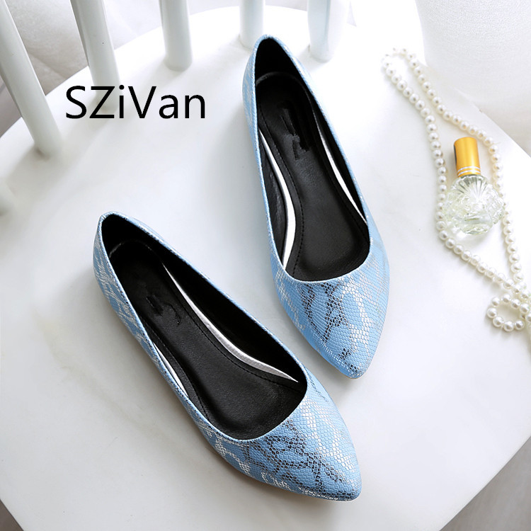 SZiVan Snake pattern woman slip on shoes pointed toe ladies flats most popular OL work shoes brand design loafers woman shoes 2017 summer new fashion sexy lace ladies flats shoes womens pointed toe shallow flats shoes black slip on casual loafers t033109