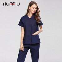New High Quality short sleeved Doctor Nurse Uniform Summer Hospital Medical Beauty Salon Spa Scrub Sets Surgical Medical Uniform