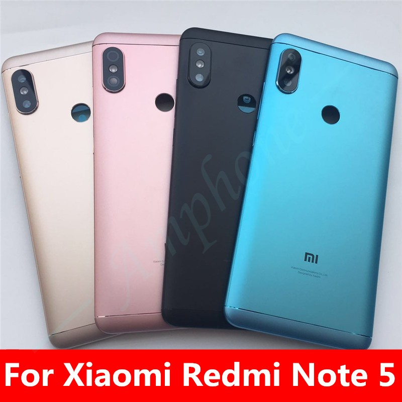 New Spare Parts For Xiaomi Redmi Note 5/Note 5 Pro Door Housing Back Battery Cover+Side Buttons + Camera Flash Lens Replacement