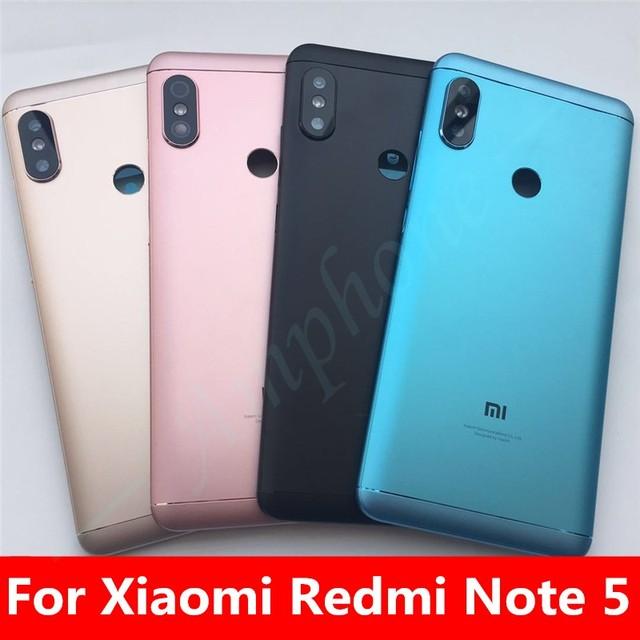 חדש חלקי חילוף עבור Xiaomi Redmi הערה 5 דלת שיכון חזור סוללה כיסוי + צד כפתורים + מצלמה פלאש עדשה החלפה