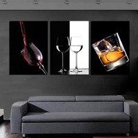 Ücretsiz Kargo Sıcak Satmak Modern Duvar Sanatı Boyama 3 Paneller Kırmızı Şarap Cam Dekoratif Sanat Tuval Resimlerinde Çerçevesiz