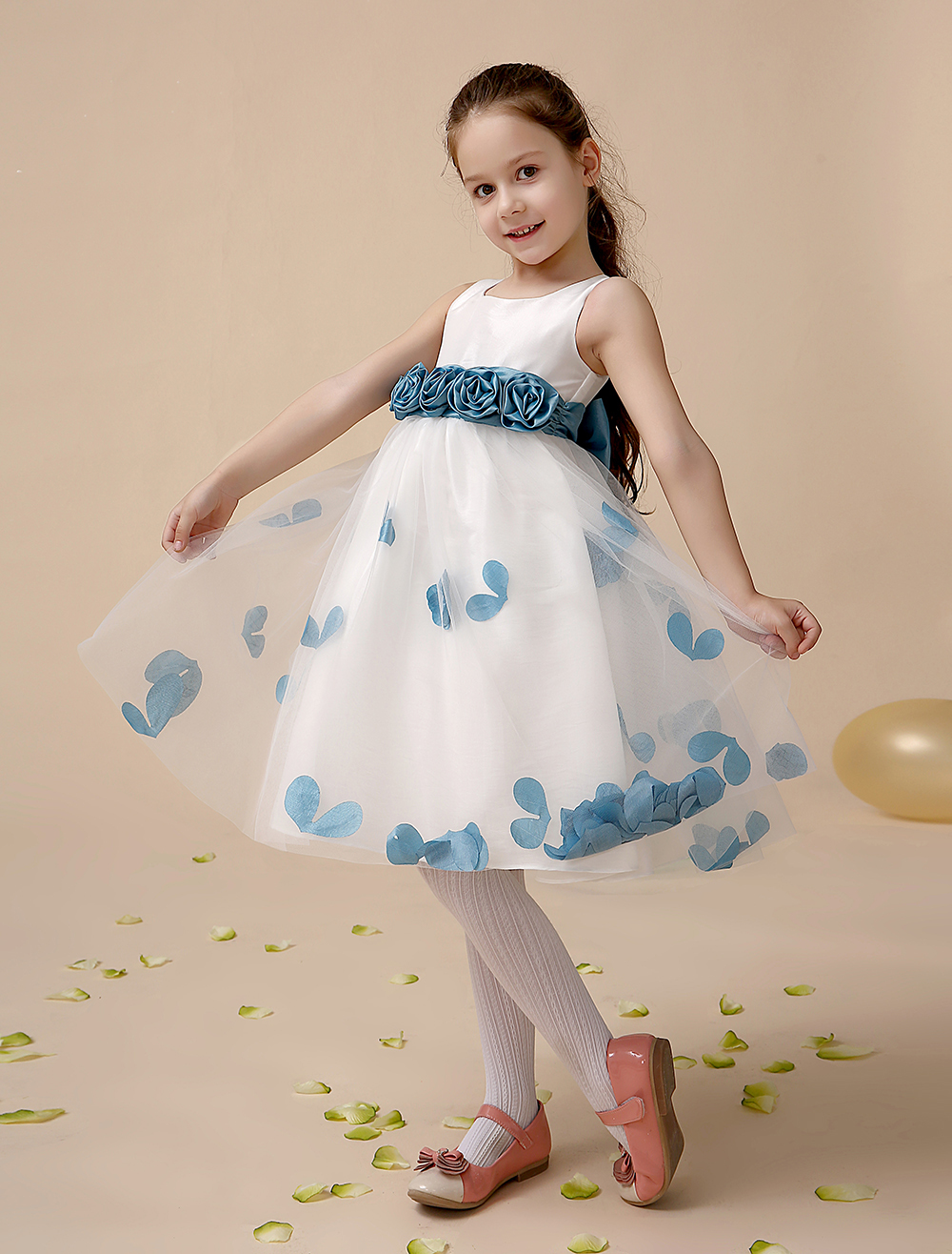 Tulle A line ivory little Girls Dresses with dusty blue sash wedding party kids girls formal