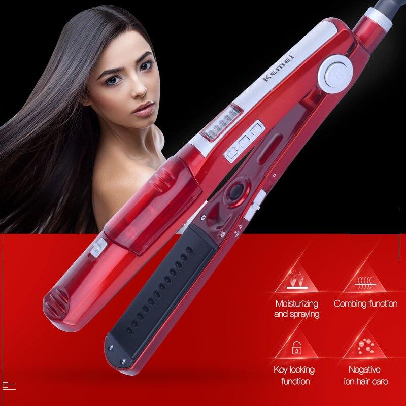 Kemei Pro быстрый нагрев Турмалин Керамика пара спрей для волос Flat Iron воды увлажняющий плиты выпрямитель Кисточки влажной/сухой