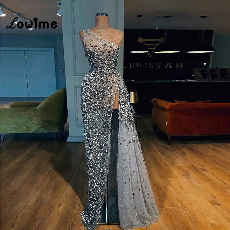 One Shoulder Crystal Beaded Prom Dresses Illusion Sexy Party Gowns 2018 New Couture Women Evening Dress Vestidos Robe De Soiree