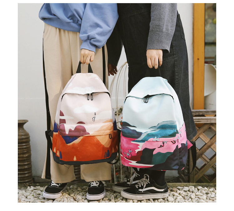 Menghuo Fresh Canvas Backpack Women Landscape School Bags for Teenagers Girls New Backpack Travel Bag Rucksack Mochilas Knapsack_19