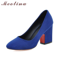 Meotina Women Shoes 2018 Design Women Pumps High Heels Plus Size 34 43 Square Toe Lady Work Shoes Thick High Heels Blue Gray