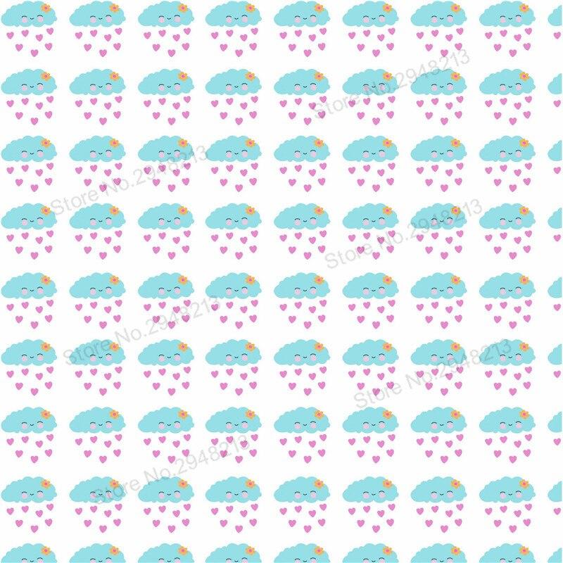 10 шт./лот печатных облако любовь Кожезаменитель ткань Vinly для День Святого Валентина волос лук сумки 20*34 см PPUL22
