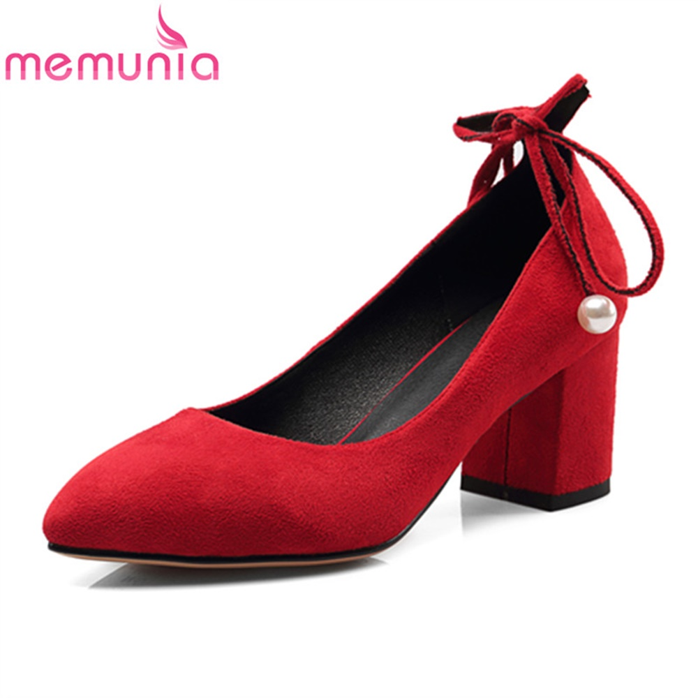 MEMUNIA pumps women shoes square heels high heels pointed toe spring summer autumn pu leather elegant mature bridal shoes memunia flock pointed toe ladies summer high heels shoes fashion buckle color mixing women pumps elegant lady prom shoes