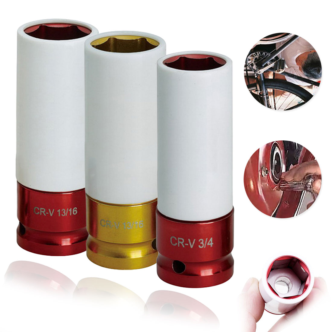 Colorful Sleeve Tire 1pc Protection Sleeve Wall Deep Impact Nut Socket High-carbon Steel Wheel 17mm/19mm/ 21mm