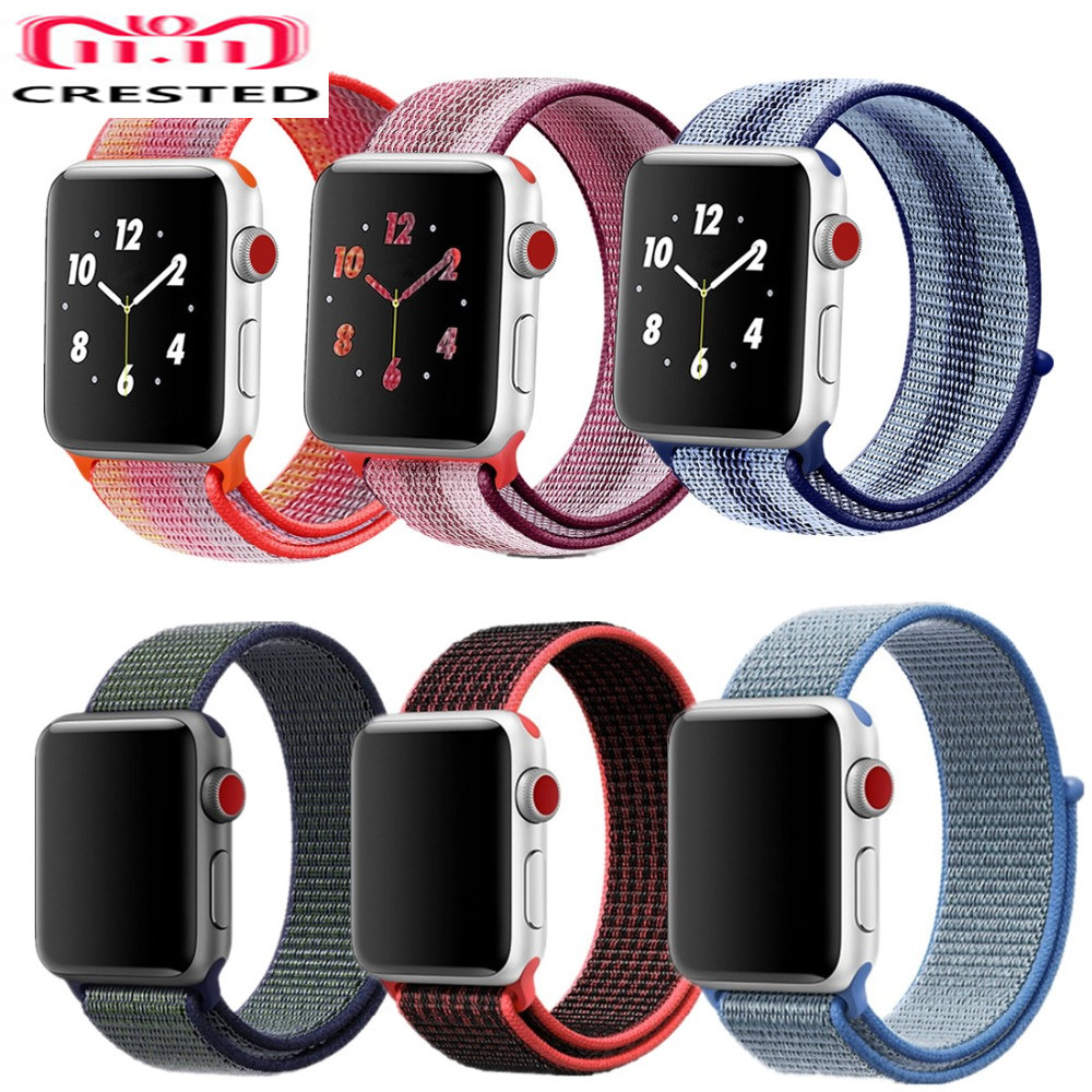 CRESTED Sport Loop For Apple Watch band strap 42mm 38mm Woven Nylon iwatch 3/2/1 wrist bands bracelet Lightweight belt correa frederique constant fc 703vd3sd4 page 3