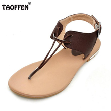 TAOFFEN frauen Reale Natürliche Echtem Leder Flachen Sandalen Böhmen Pantoffeln Sommer Strand Sandalen Damen Schuhe Größe 34-43 R5744