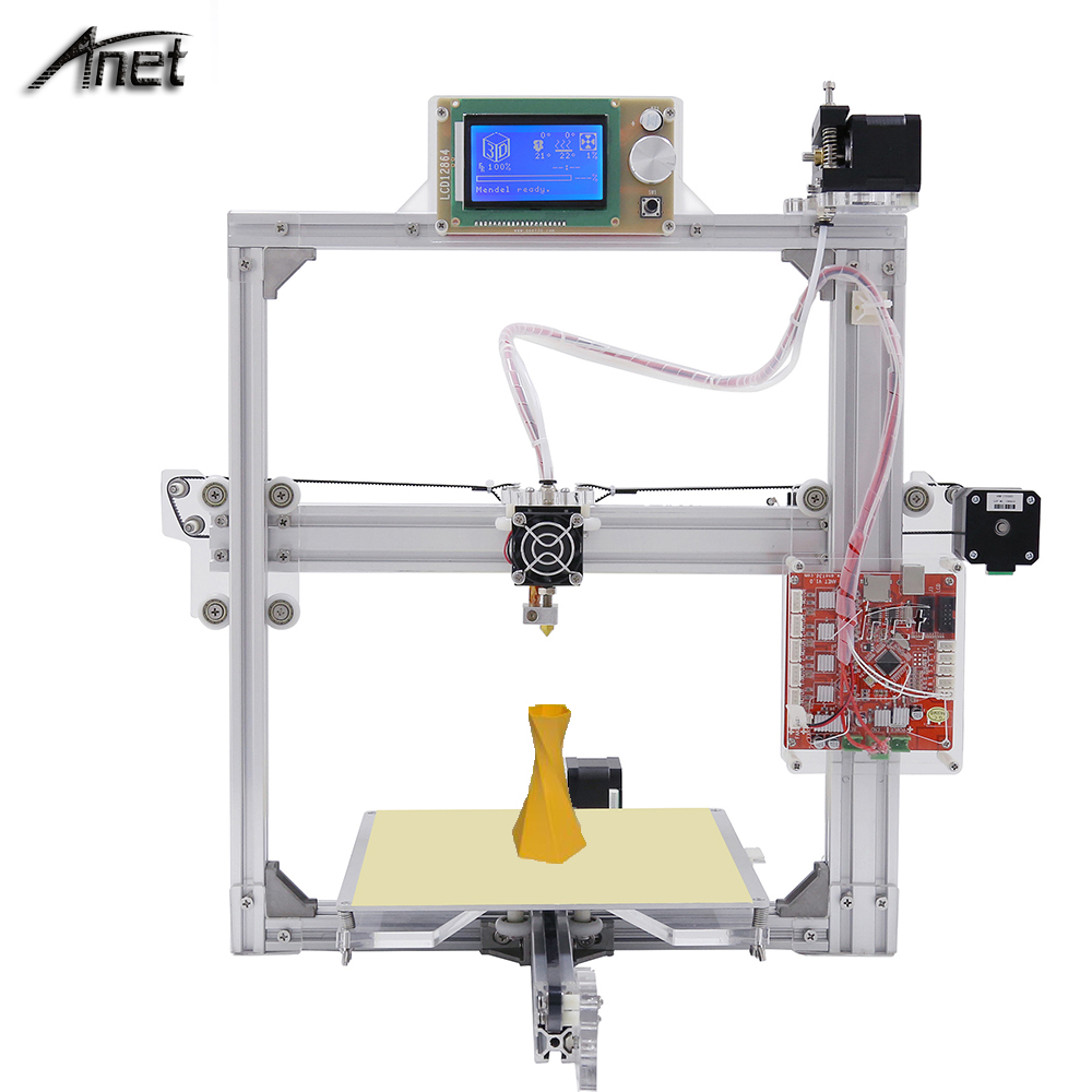 Anet A2 Metal LCD2004/12864 220*220*220/220*270*220mm Option 3D Printer DIY Prusa i3 3d Printer Kit with free 10M Filaments