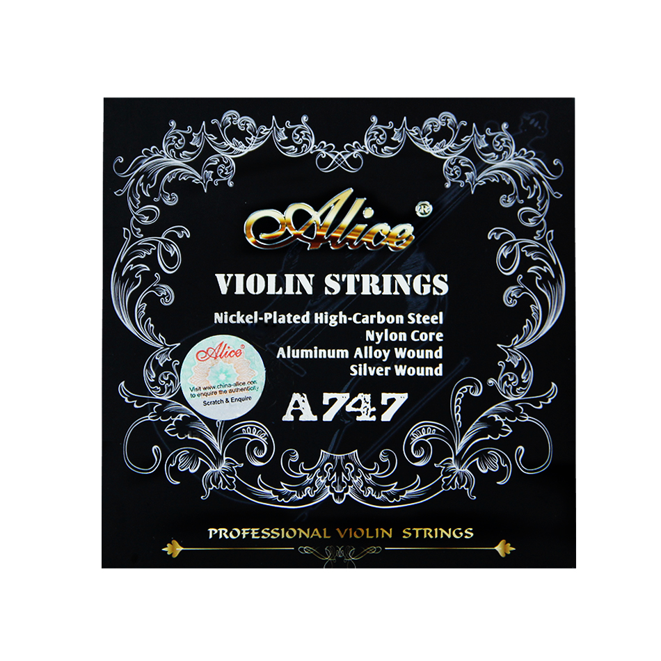 Alice Violin Strings A747 nickel plated High carbon steel Nylon cor Aluminum Alloy wound silver wound