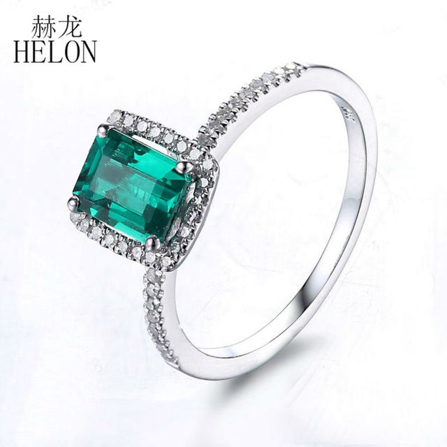 HELON 1.1ct Treated Emerald 7x5mm Emerald Pave 0.2ct Diamonds Women's Fine Jewelry Solid 10K White Gold Engagement Wedding Ring