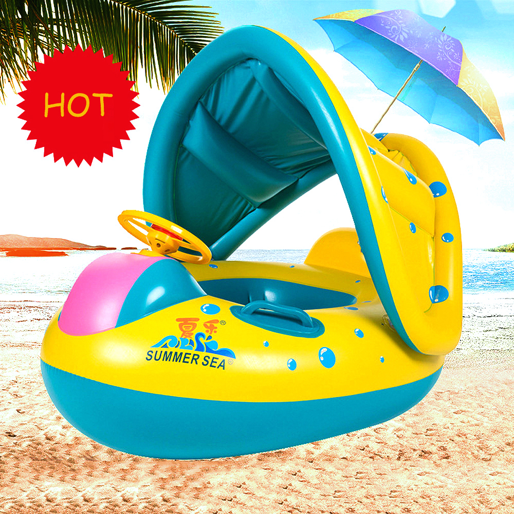 Inflatable Baby Kids Swimming Ring Summer Swimming Pool Swan Swim Float Water Fun Pool Toys Swim Ring Seat Boat Sport for 3-6Y