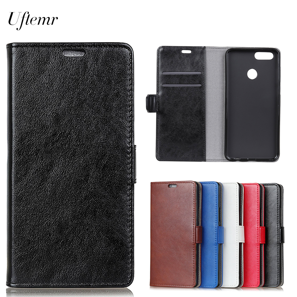 Uftemr Luxury Business Leather Case For Huawei Y9 2018 Crazy House Skin Flip Cover For Huawei Y9 2018 Phone Accessories