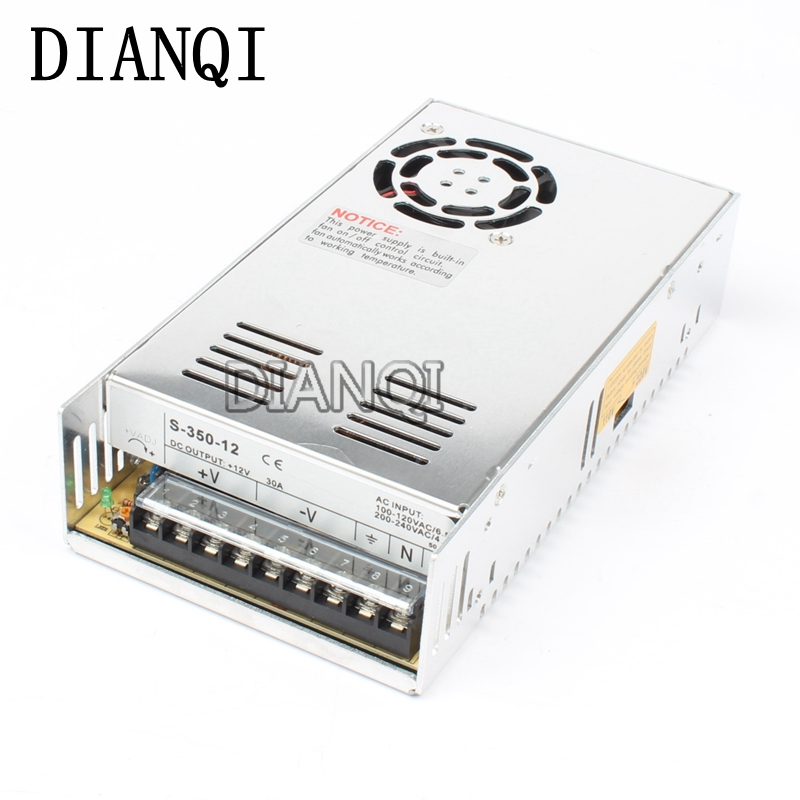 DIANQI led power supply switch 350W  12v  30A ac dc converter  S-350w  12v variable dc voltage regulator S-350-12 12v adjustable voltage regulator 110v 220v converter ac dc led transformer regulable ce 0 12v 33a 400w switching power supply