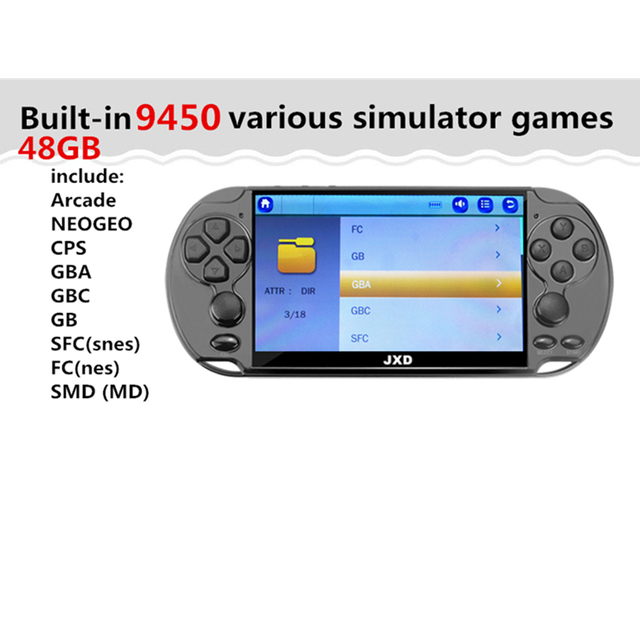 "JXD 48GB / 128Bit / 5.1"" Screen - With 9450 Games - mame / gba / gbc / snes / fc / smd 2"