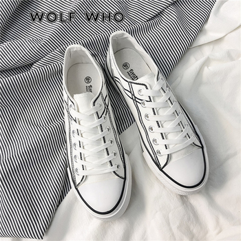 WOLF WHO Men Canvas Shoes Flats Casual Shoes Mocassin Male Sneakers White Plimsolls Espadrilles Trainers Zapatillas Hombre X-006