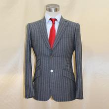 dark grey hunddersfield wool super 120's man's business formal chalk stripe grey suit,custom tailor made MTM suit 2018 VA