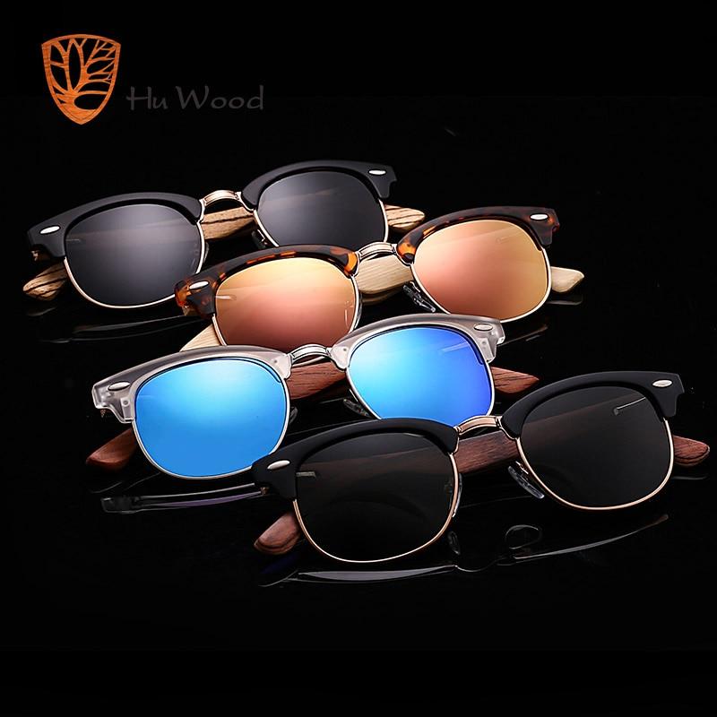 HU WOOD 2018 New Polarized Sunglasses Unisex Retro Wooden Striped High Quality Oval Semi-Rimless Brand Sun Glasses Female GR8005