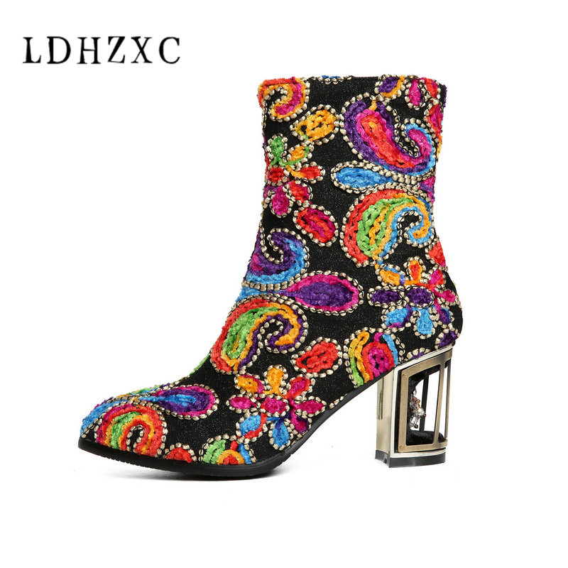 LDHZXC 2018 new fashion autumn winter boots women round toe zip genuine leather boots thick high heels ankle boots big size 12 big size 34 42 high quality genuine leather leisure low heels ankle boots fashion cowhide round toe platform women boots