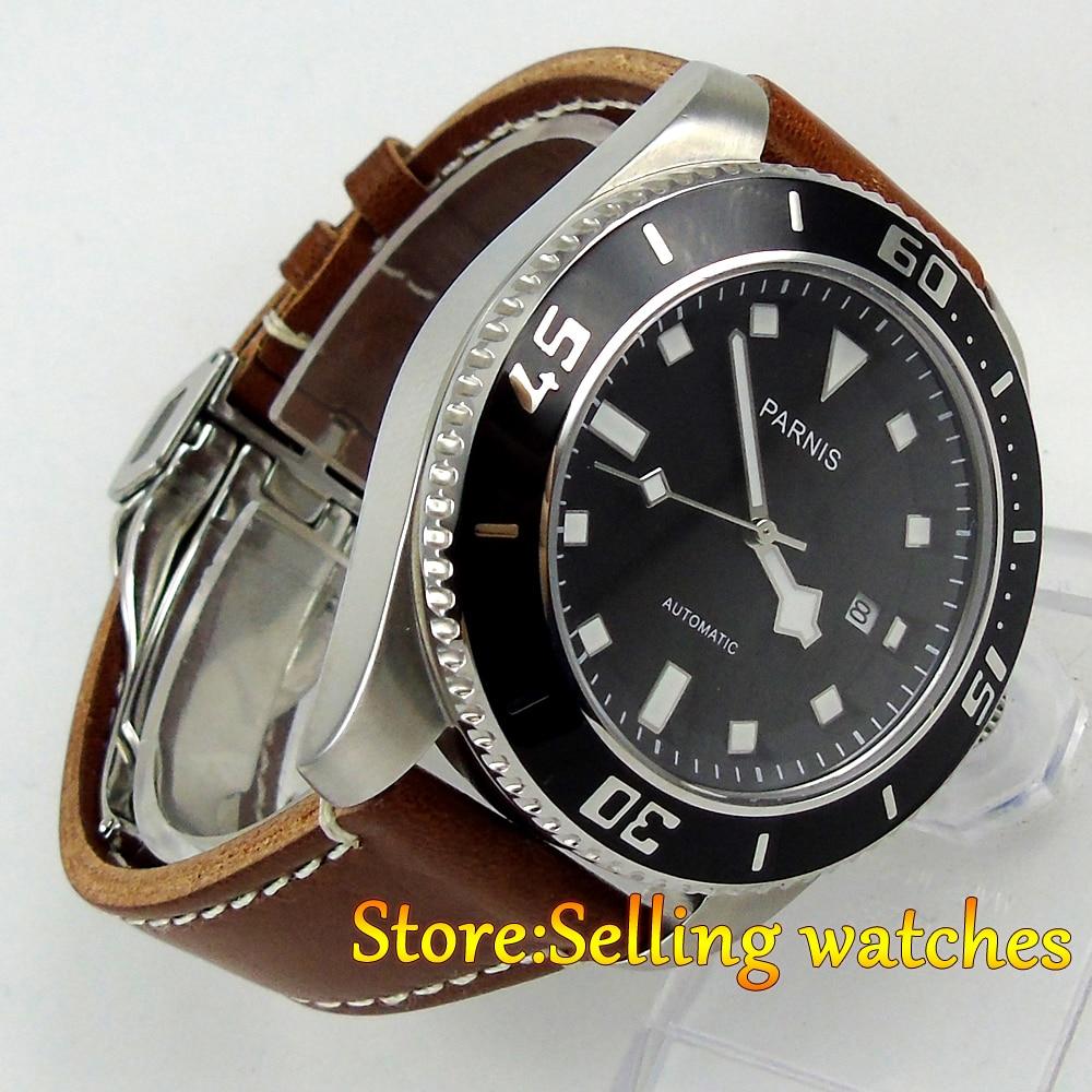 43mm Parnis black dial black bezel date miyota automatic diving mens watch цена и фото