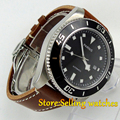 43mm Parnis black dial black bezel date miyota automatic diving mens watch
