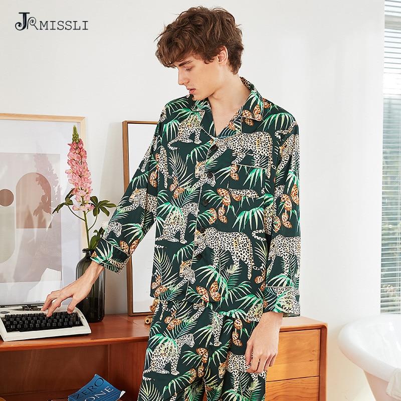 JRMISSLI Pajamas Set Men's Clothing At All Seasons Silk Satin Sleepwear Suit Casual Homewear Sleep Lounge Underwear 2PCS
