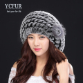 YCFUR 2016 Winter Fur Berets Hats For Women Knitted Natural Rex Rabbit Fur Caps With Silver Fox Fur Flower Real Fur Beanies