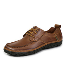 Handmade Men Genuine Leather Shoes Full Grain Leather Casual Shoes for Man Soft Sole Lace Up Plus Size 45 46 47