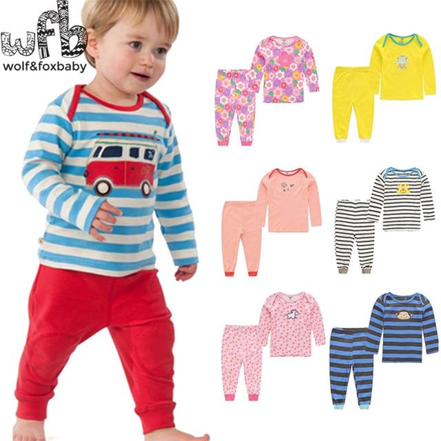 Varejo 2 set/pacote 0-24months longo-Manga da camisa de t + calças compridas PP Bebê recém-nascido Infantil roupas para meninos das meninas primavera outono cueca