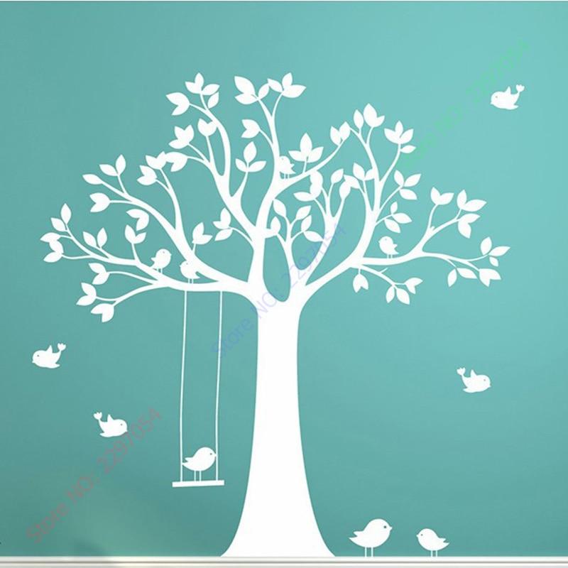 Baby Nursery Tree Wall Sticker Swing Birds Tree Wall Decals for - Home Decor - Photo 2