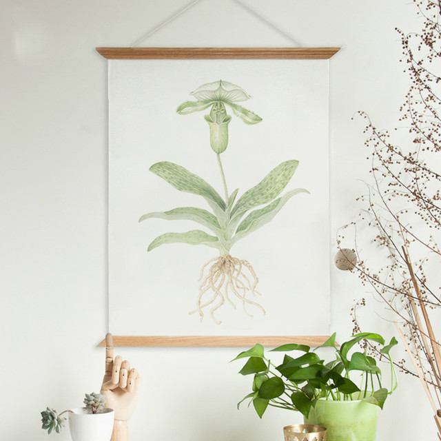 country style fresh green plants flora painting wooden poster hanger wall decorative poster frame scroll hang - Wooden Poster Frames